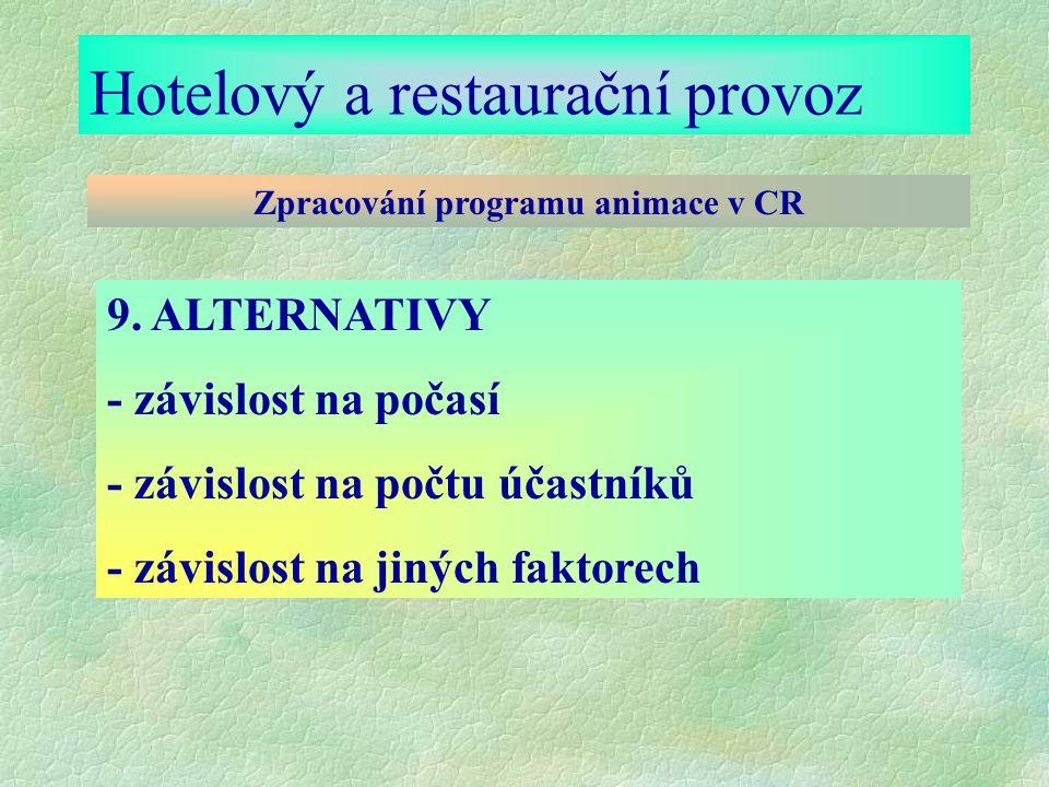 Hotelový a restaurační provoz Zpracování programu animace v CR 9.