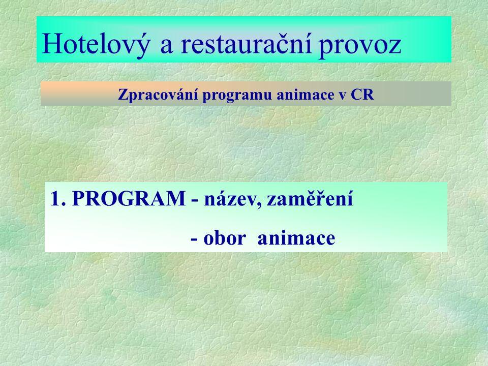 Hotelový a restaurační provoz Zpracování programu animace v CR 1.