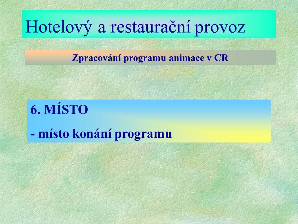 Hotelový a restaurační provoz Zpracování programu animace v CR 6. MÍSTO - místo konání programu