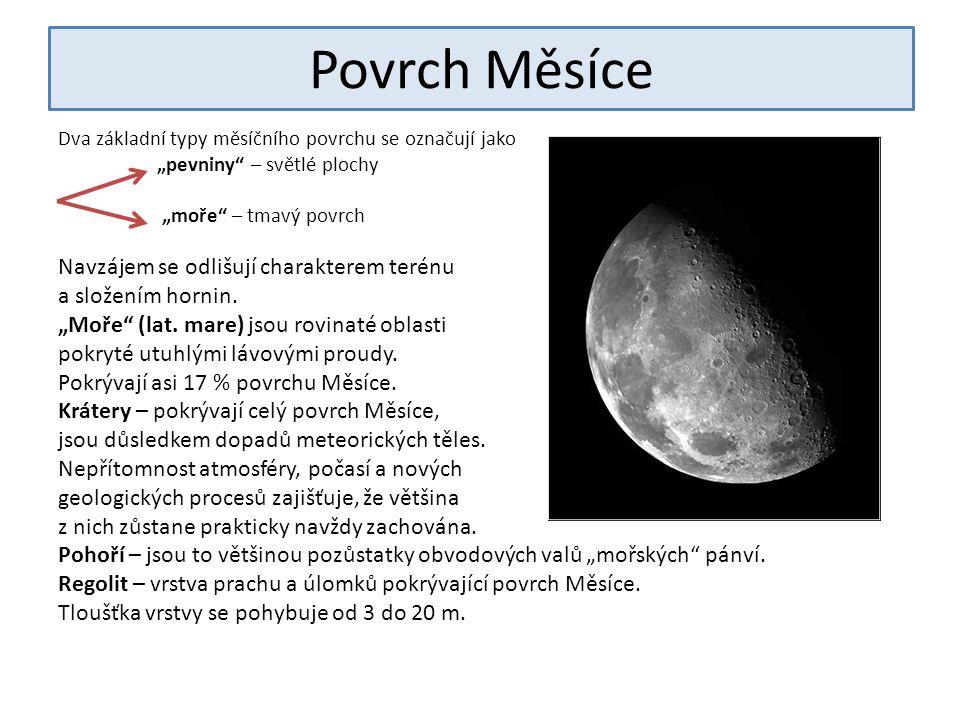 """Povrch Měsíce Dva základní typy měsíčního povrchu se označují jako """"pevniny – světlé plochy """"moře – tmavý povrch Navzájem se odlišují charakterem terénu a složením hornin."""