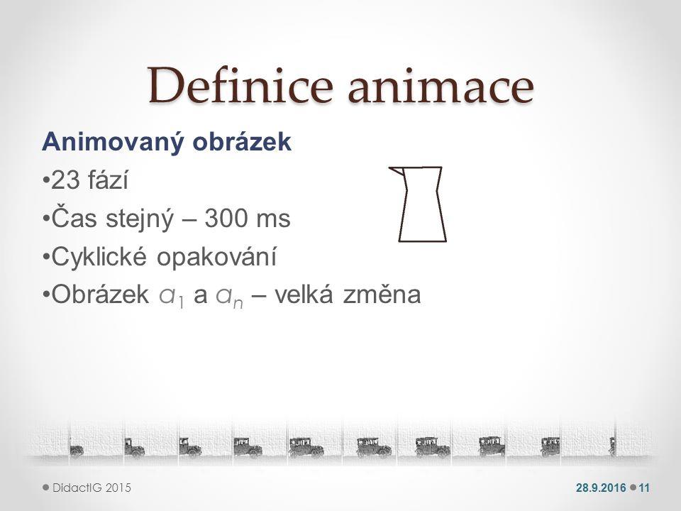 Definice animace Animovaný obrázek 23 fází Čas stejný – 300 ms Cyklické opakování Obrázek a 1 a a n – velká změna 28.9.201611 DidactIG 2015