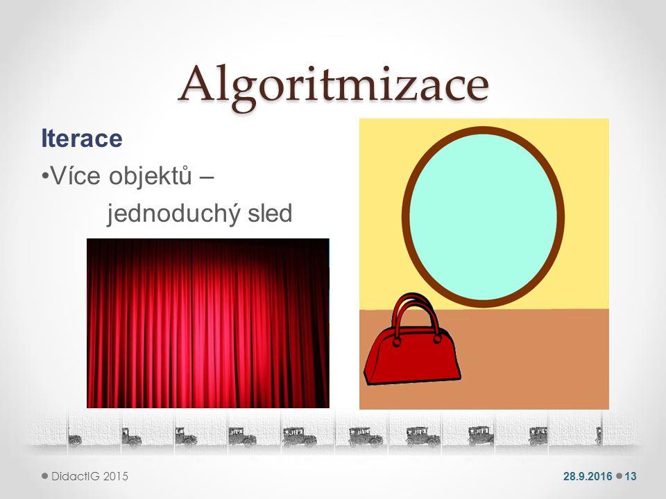 Algoritmizace Iterace Více objektů – jednoduchý sled 28.9.201613 DidactIG 2015