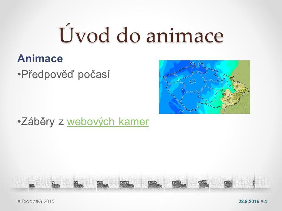 Úvod do animace Animace Předpověď počasí Záběry z webových kamerwebových kamer 28.9.20164 DidactIG 2015