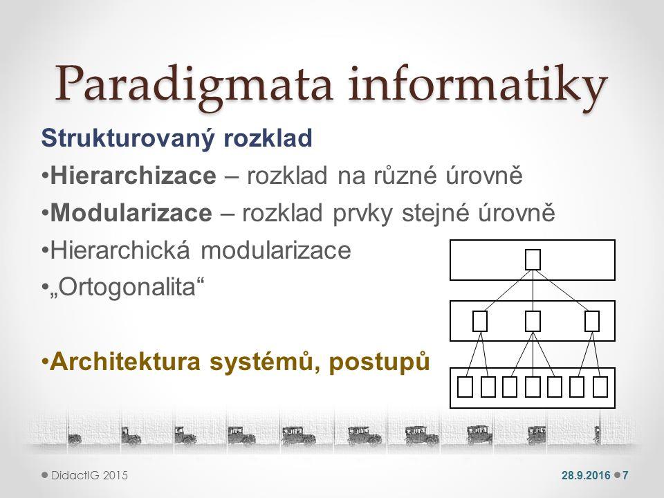 Paradigmata informatiky Jazyk - vyjádření Formální vyjádření o Sjednocující pohled o Manipulace s pojmy pomocí algoritmů Syntaxe - pravidla Sémantika - význam Formální jazyk 28.9.20168 DidactIG 2015