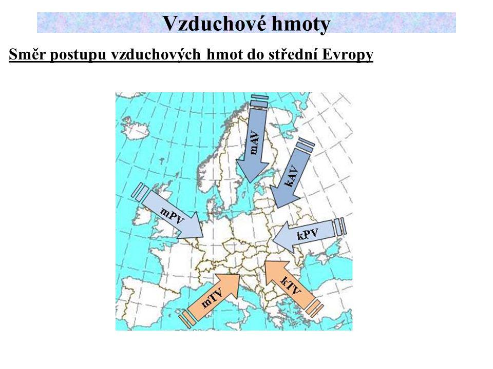 Směr postupu vzduchových hmot do střední Evropy Vzduchové hmoty