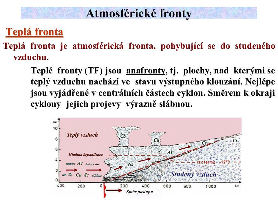Teplá fronta Teplá fronta Teplá fronta je atmosférická fronta, pohybující se do studeného vzduchu.