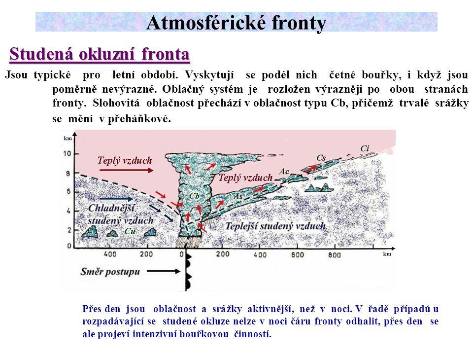 Studená okluzní fronta Jsou typické pro letní období.