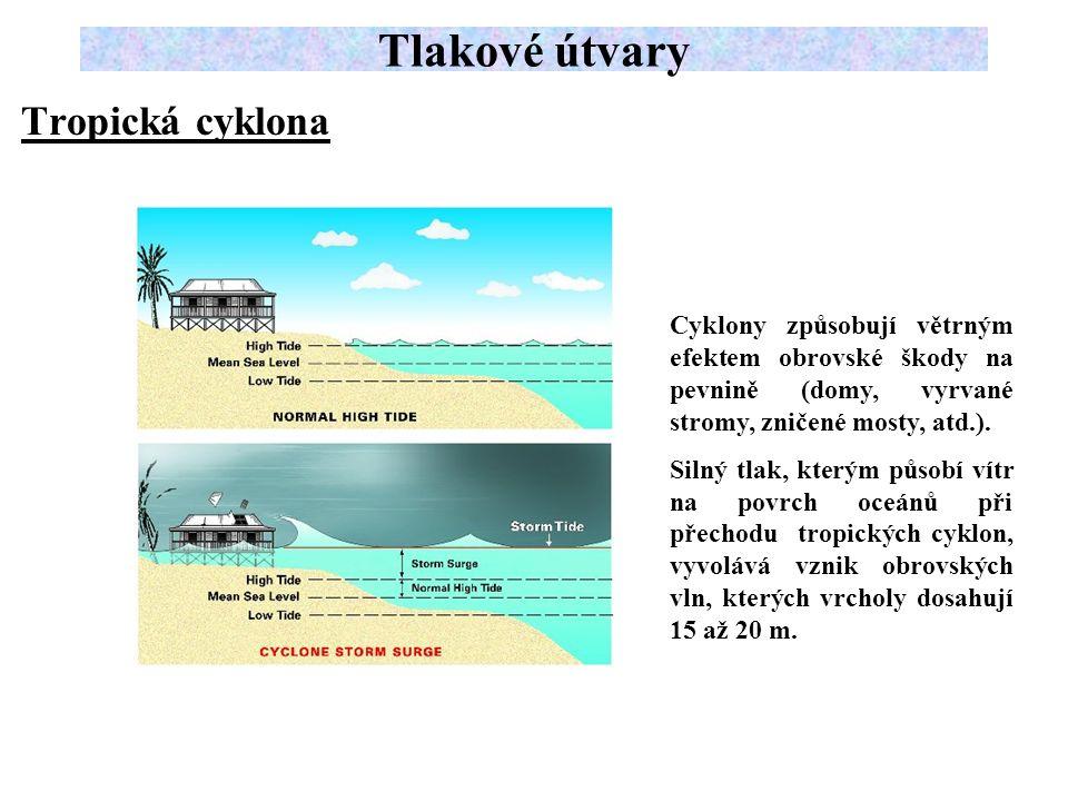 Tropická cyklona Tlakové útvary Cyklony způsobují větrným efektem obrovské škody na pevnině (domy, vyrvané stromy, zničené mosty, atd.).