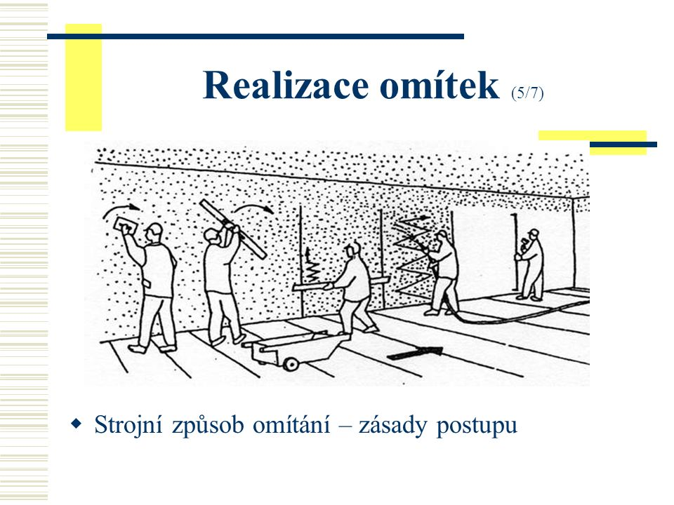Realizace omítek (4/7)  provedení omítníků v ploše  postup dílčích stavebních procesů  provedení omítky ručním způsobem