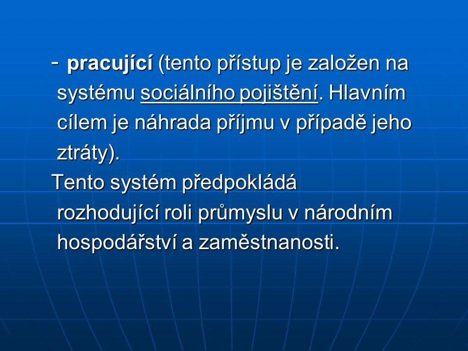 - pracující (tento přístup je založen na - pracující (tento přístup je založen na systému sociálního pojištění. Hlavním systému sociálního pojištění.