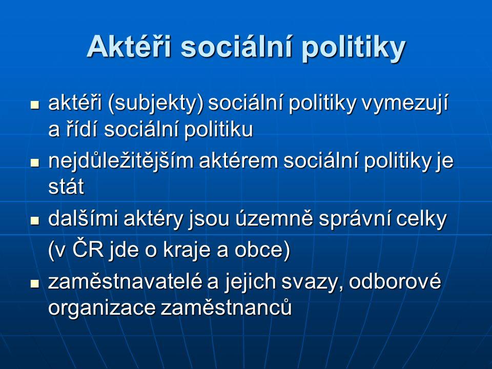 Aktéři sociální politiky aktéři (subjekty) sociální politiky vymezují a řídí sociální politiku aktéři (subjekty) sociální politiky vymezují a řídí soc