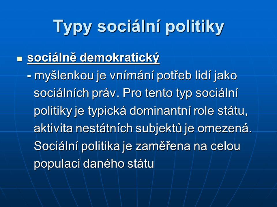 Typy sociální politiky sociálně demokratický sociálně demokratický - myšlenkou je vnímání potřeb lidí jako - myšlenkou je vnímání potřeb lidí jako soc