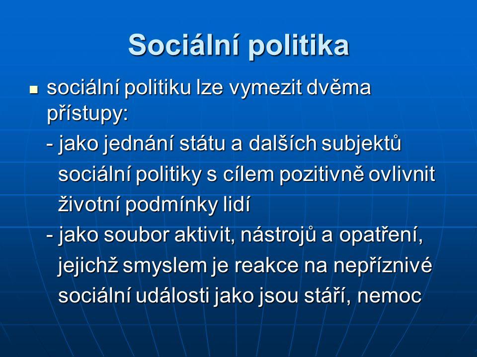 Sociální politika sociální politiku lze vymezit dvěma přístupy: sociální politiku lze vymezit dvěma přístupy: - jako jednání státu a dalších subjektů