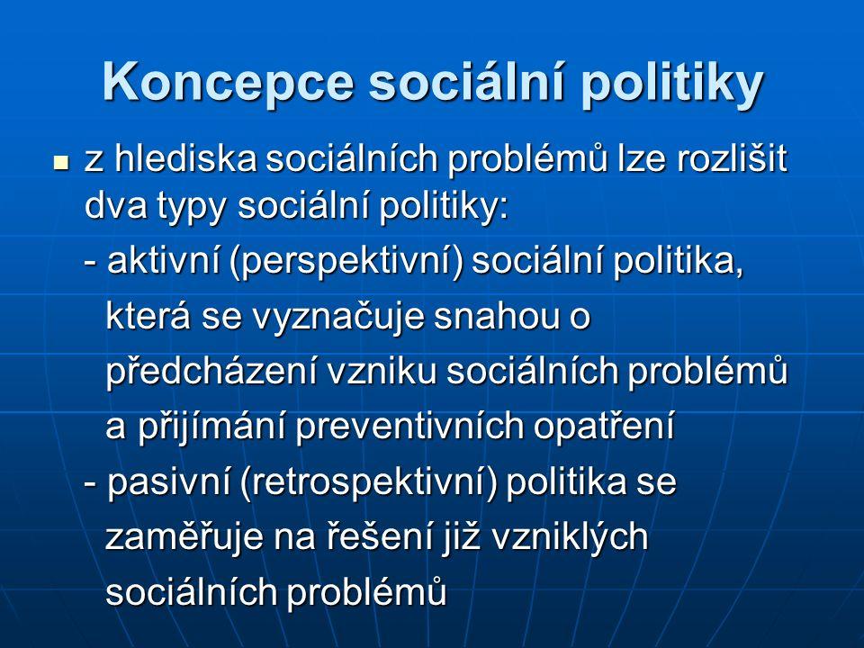 Koncepce sociální politiky z hlediska sociálních problémů lze rozlišit dva typy sociální politiky: z hlediska sociálních problémů lze rozlišit dva typ