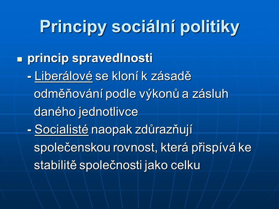 Principy sociální politiky princip spravedlnosti princip spravedlnosti - Liberálové se kloní k zásadě - Liberálové se kloní k zásadě odměňování podle