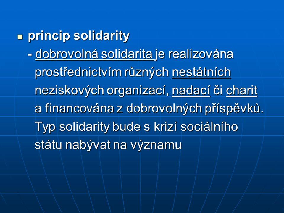 princip solidarity princip solidarity - dobrovolná solidarita je realizována - dobrovolná solidarita je realizována prostřednictvím různých nestátních