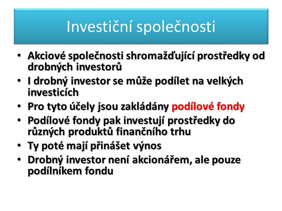 Investiční společnosti Akciové společnosti shromažďující prostředky od drobných investorů Akciové společnosti shromažďující prostředky od drobných investorů I drobný investor se může podílet na velkých investicích I drobný investor se může podílet na velkých investicích Pro tyto účely jsou zakládány podílové fondy Pro tyto účely jsou zakládány podílové fondy Podílové fondy pak investují prostředky do různých produktů finančního trhu Podílové fondy pak investují prostředky do různých produktů finančního trhu Ty poté mají přinášet výnos Ty poté mají přinášet výnos Drobný investor není akcionářem, ale pouze podílníkem fondu Drobný investor není akcionářem, ale pouze podílníkem fondu