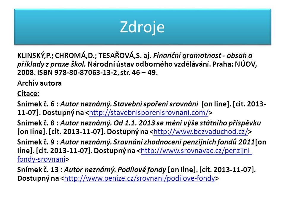 Zdroje KLINSKÝ,P.; CHROMÁ,D.; TESAŘOVÁ,S.aj. Finanční gramotnost - obsah a příklady z praxe škol.