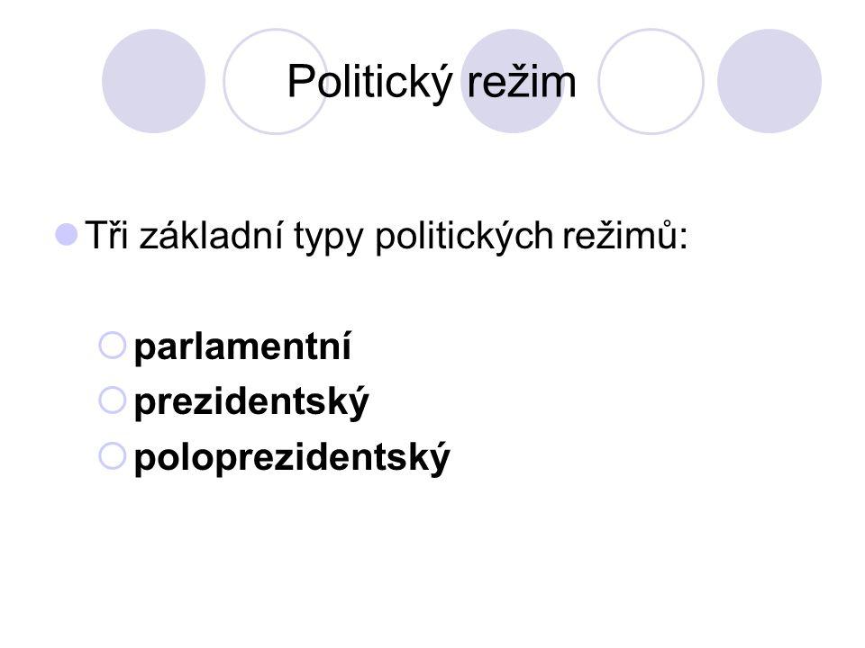 Politický režim Tři základní typy politických režimů:  parlamentní  prezidentský  poloprezidentský