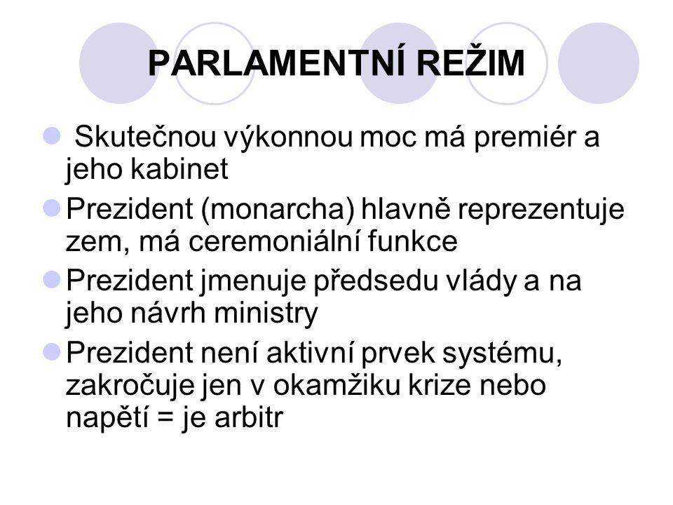 PREZIDENTSKÝ REŽIM výkonná moc je od zákonodárné striktně oddělena parlament nemá žádné exekutivní nástroje; prezident má úplnou výkonnou moc, ale nemá žádnou pravomoc zákonodárnou.