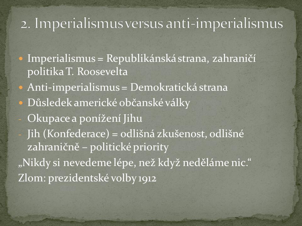 """Zrušil dolarovou diplomacii Odsoudil imperialismus svých předchůdců Volební heslo (1916): """"uchránit nás od války Přísné dodržování neutrality nebo pragmatismus ."""