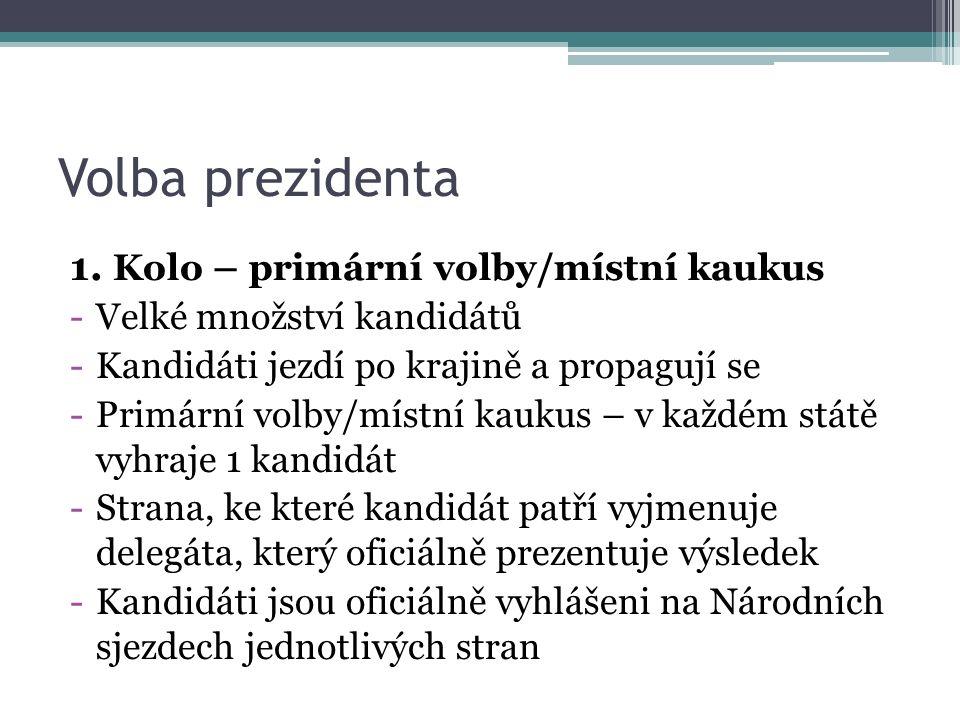Volba prezidenta 1. Kolo – primární volby/místní kaukus -Velké množství kandidátů -Kandidáti jezdí po krajině a propagují se -Primární volby/místní ka