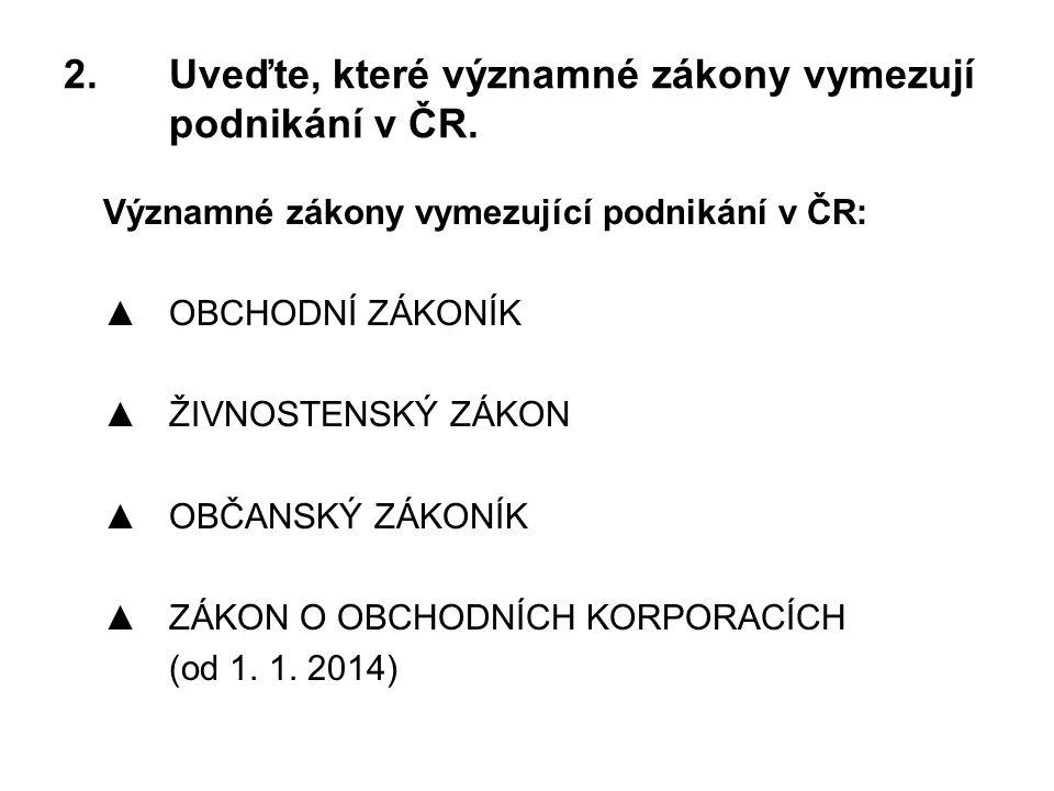 2.Uveďte, které významné zákony vymezují podnikání v ČR.