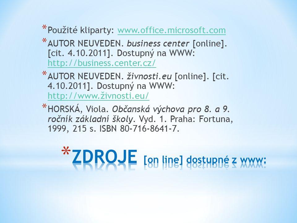 * Použité kliparty: www.office.microsoft.comwww.office.microsoft.com * AUTOR NEUVEDEN.