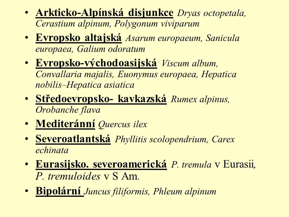 Arkticko-Alpínská disjunkce Dryas octopetala, Cerastium alpinum, Polygonum viviparum Evropsko altajská Asarum europaeum, Sanicula europaea, Galium odoratum Evropsko-východoasijská Viscum album, Convallaria majalis, Euonymus europaea, Hepatica nobilis–Hepatica asiatica Středoevropsko- kavkazská Rumex alpinus, Orobanche flava Mediteránní Quercus ilex Severoatlantská Phyllitis scolopendrium, Carex echinata Eurasijsko.