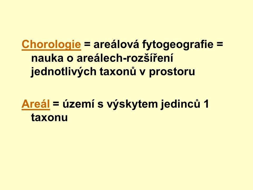Chorologie = areálová fytogeografie = nauka o areálech-rozšíření jednotlivých taxonů v prostoru Areál = území s výskytem jedinců 1 taxonu
