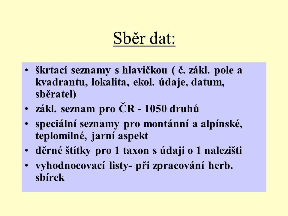 Sběr dat: škrtací seznamy s hlavičkou ( č.zákl. pole a kvadrantu, lokalita, ekol.