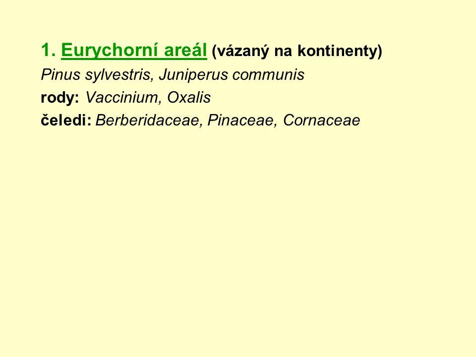 1. Eurychorní areál (vázaný na kontinenty) Pinus sylvestris, Juniperus communis rody: Vaccinium, Oxalis čeledi: Berberidaceae, Pinaceae, Cornaceae