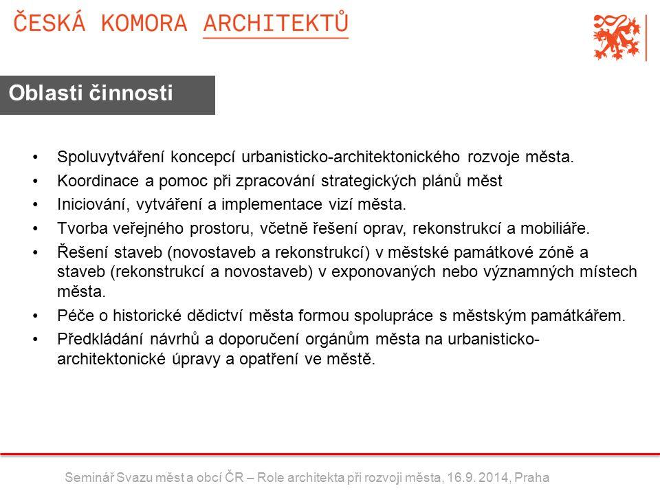 Spoluvytváření koncepcí urbanisticko-architektonického rozvoje města.