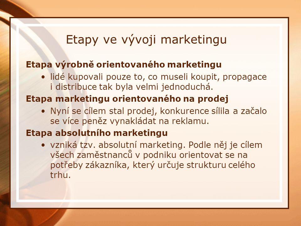 Etapy ve vývoji marketingu Etapa výrobně orientovaného marketingu lidé kupovali pouze to, co museli koupit, propagace i distribuce tak byla velmi jednoduchá.