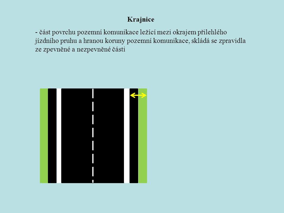 Krajnice - část povrchu pozemní komunikace ležící mezi okrajem přilehlého jízdního pruhu a hranou koruny pozemní komunikace, skládá se zpravidla ze zpevněné a nezpevněné části