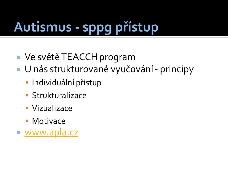  Ve světě TEACCH program  U nás strukturované vyučování - principy  Individuální přístup  Strukturalizace  Vizualizace  Motivace  www.apla.cz www.apla.cz