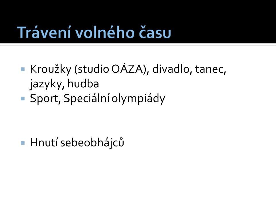  Kroužky (studio OÁZA), divadlo, tanec, jazyky, hudba  Sport, Speciální olympiády  Hnutí sebeobhájců