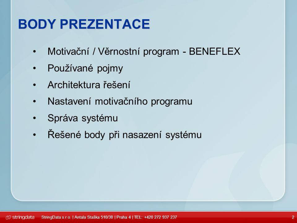BODY PREZENTACE Motivační / Věrnostní program - BENEFLEX Používané pojmy Architektura řešení Nastavení motivačního programu Správa systému Řešené body při nasazení systému StringData s.r.o.