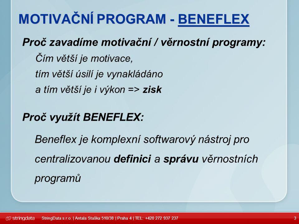 3 MOTIVAČNÍ PROGRAM - BENEFLEX Proč zavadíme motivační / věrnostní programy: Čím větší je motivace, tím větší úsilí je vynakládáno a tím větší je i výkon => zisk Proč využít BENEFLEX: Beneflex je komplexní softwarový nástroj pro centralizovanou definici a správu věrnostních programů StringData s.r.o.