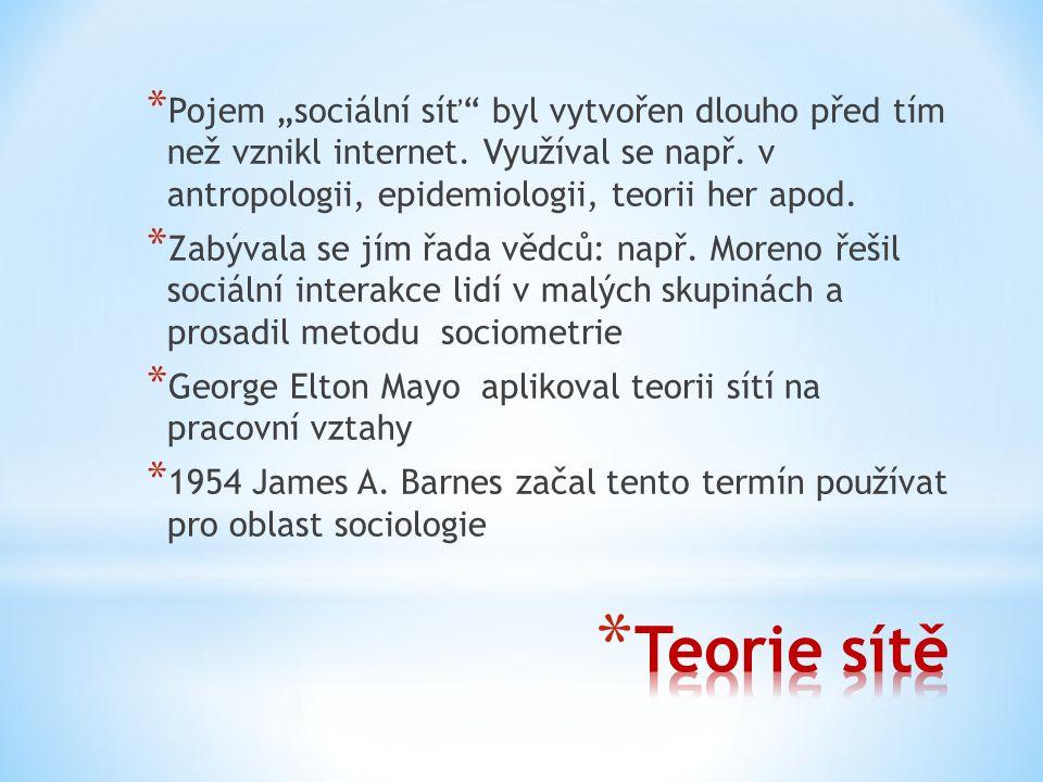 """* Pojem """"sociální síť byl vytvořen dlouho před tím než vznikl internet."""