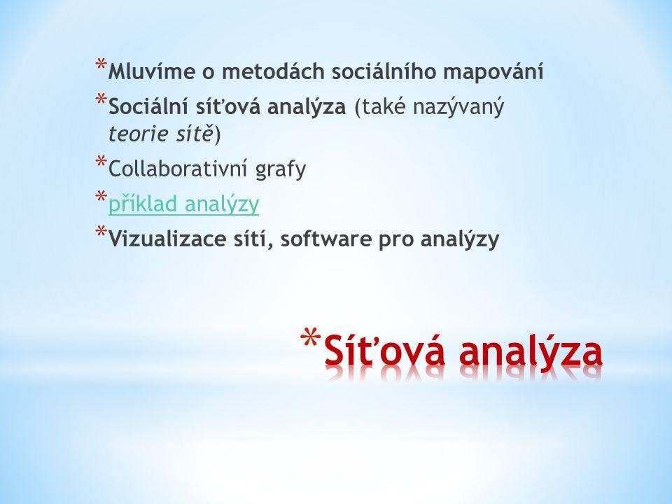 * Mluvíme o metodách sociálního mapování * Sociální síťová analýza (také nazývaný teorie sítě) * Collaborativní grafy * příklad analýzy příklad analýzy * Vizualizace sítí, software pro analýzy