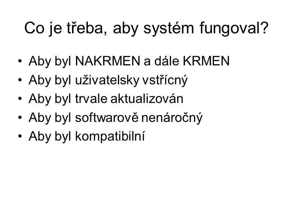 Co je třeba, aby systém fungoval? Aby byl NAKRMEN a dále KRMEN Aby byl uživatelsky vstřícný Aby byl trvale aktualizován Aby byl softwarově nenáročný A