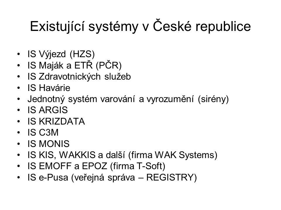 Existující systémy v České republice IS Výjezd (HZS) IS Maják a ETŘ (PČR) IS Zdravotnických služeb IS Havárie Jednotný systém varování a vyrozumění (s