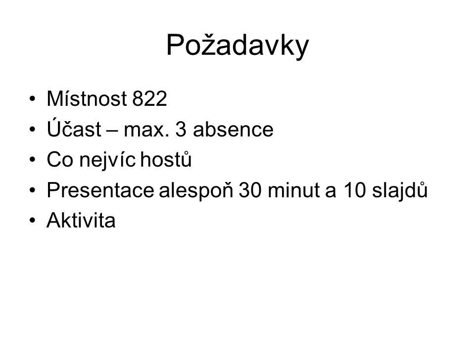 Požadavky Místnost 822 Účast – max. 3 absence Co nejvíc hostů Presentace alespoň 30 minut a 10 slajdů Aktivita