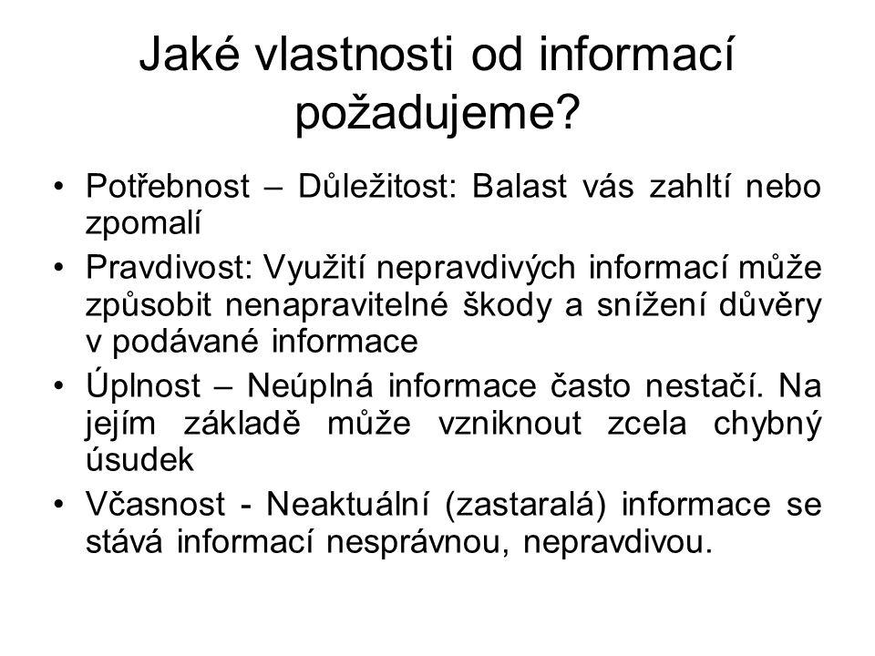 Jaké vlastnosti od informací požadujeme? Potřebnost – Důležitost: Balast vás zahltí nebo zpomalí Pravdivost: Využití nepravdivých informací může způso