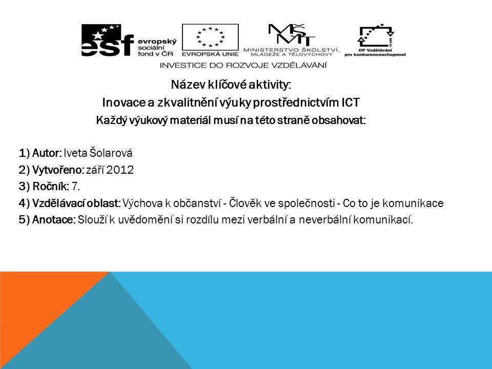 Číslo klíčové aktivity: III/2 Název klíčové aktivity: Inovace a zkvalitnění výuky prostřednictvím ICT Každý výukový materiál musí na této straně obsahovat: 1) Autor: Iveta Šolarová 2) Vytvořeno: září 2012 3) Ročník: 7.