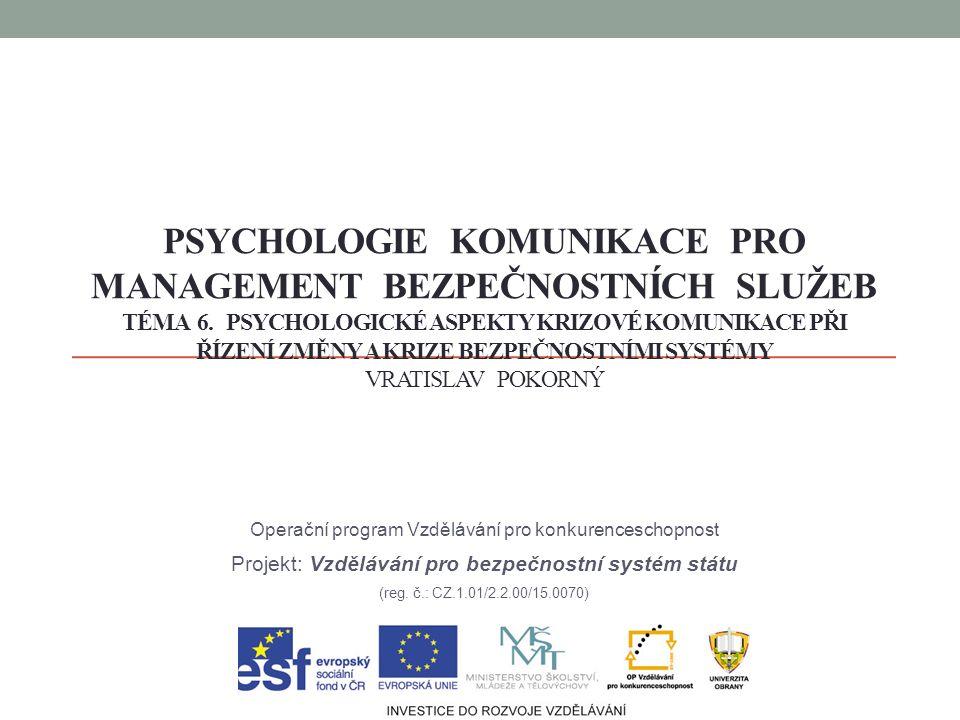 PSYCHOLOGIE KOMUNIKACE PRO MANAGEMENT BEZPEČNOSTNÍCH SLUŽEB TÉMA 6.