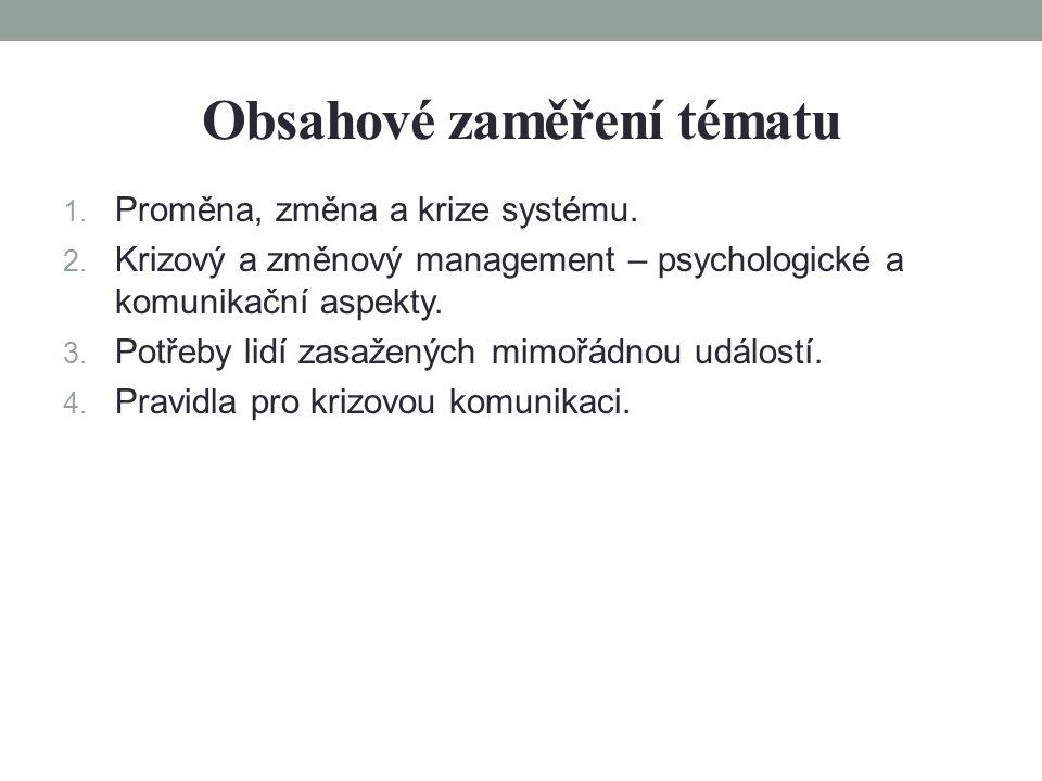 Obsahové zaměření tématu 1. Proměna, změna a krize systému.