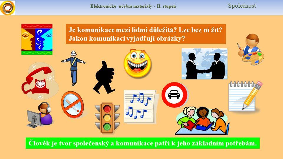 Elektronické učební materiály - II. stupeň Společnost Je komunikace mezi lidmi důležitá.