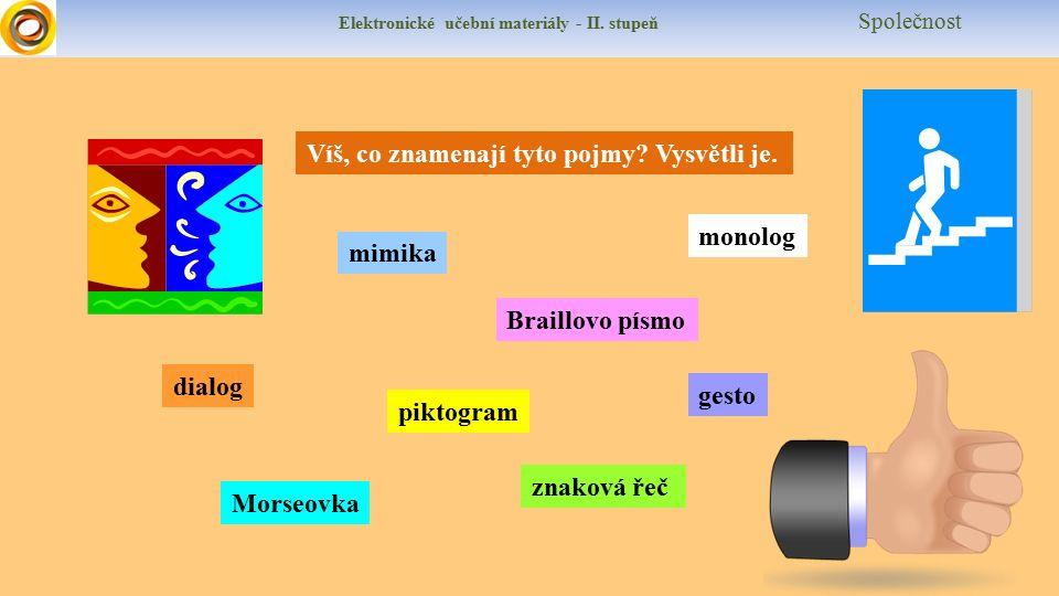 Elektronické učební materiály - II. stupeň Společnost Víš, co znamenají tyto pojmy.